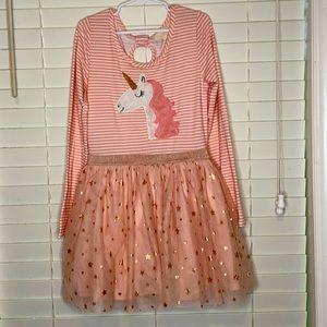 Btween Long Sleeve Unicorn Starry Tulle Dress